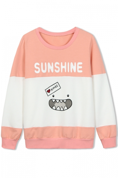 Letter & Cartoon Print Color Block Round Neck Sweatshirt