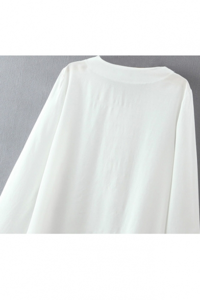 Plain Round Neck Crisscross Tie Front Long Sleeve Blouse