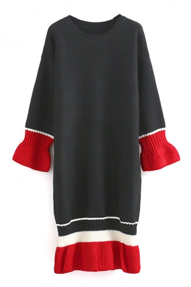 Round Neck Color Block Stripe Trims Ruffle Hem Long Sweater