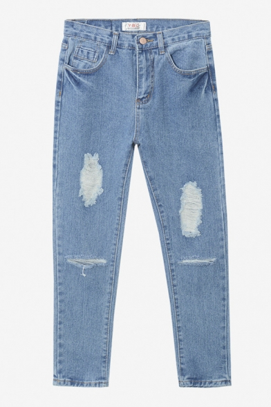 Zipper Fly Ripped Cutout Loose Blue Washed Old Jeans