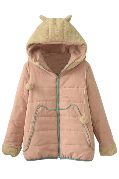 Cute Hooded Fur Ball Detail Zipper Patchwork Padded Coat