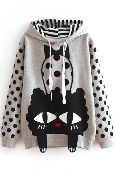 Hooded Cartoon Print Polka Dot Patchwork Sweatshirt