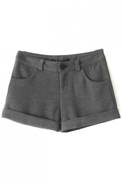 Plain Single Button Turn Up Hem Tweed Loose Shorts