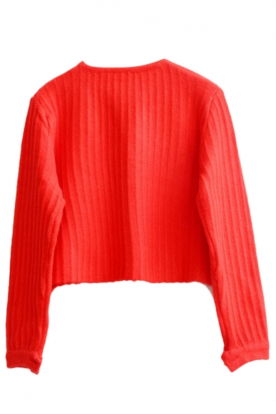 Round Neck Long Sleeve Plain Button Detail Cropped Sweater