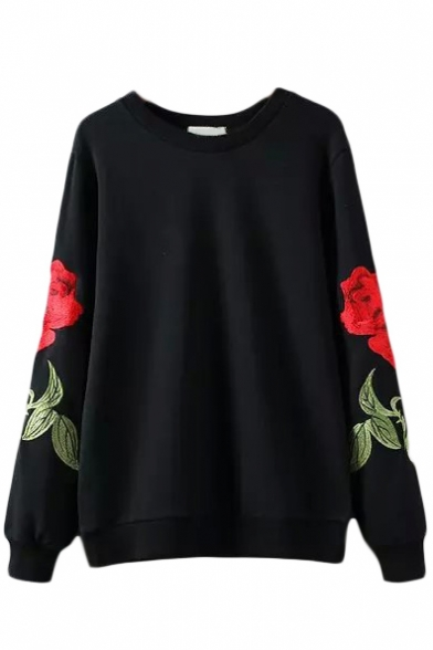 Round neck long sleeve rose embroidery black sweatshirt