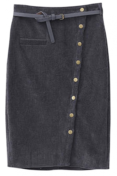 Single Breasted Plain Single Pocket Corduroy Pencil Skirt