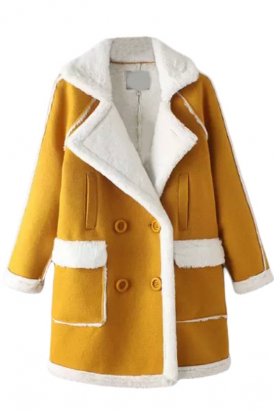 Wool Lining Notched Lapel Double Breasted Pockets Yellow Coat