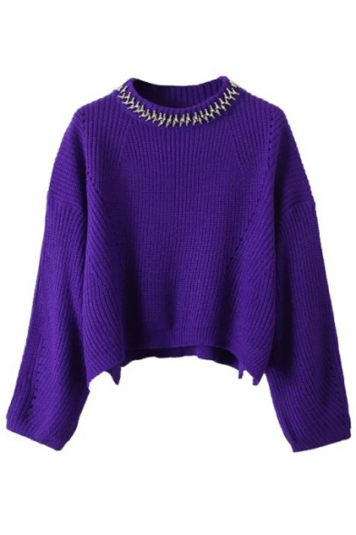 Beading Round Neck Loose Long Sleeve Dip Hem Cropped Sweater