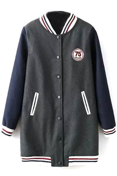 Color Stripe Trim Tweed Patchwork Long Quilted Jacket