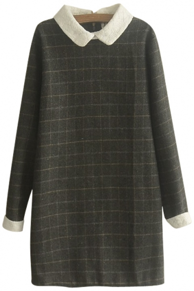Contrast Collar Long Sleeve Plaid Shift Mini Tweed Dress