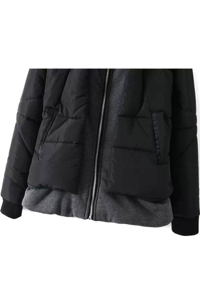 Piece Coat Thickened Padded Hooded Two False Zipper 4xUYwqTnC5