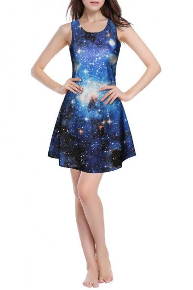 Galaxy Digital Print Round Neck Slim A-Line Dress