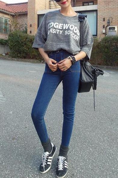 High Waist Pockets Double Buttons Plain Skinny Jeans