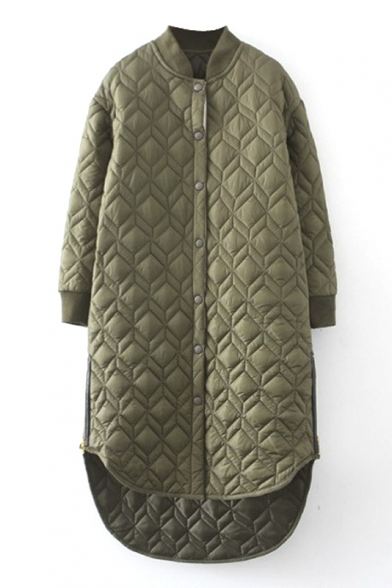 Plain Stand Up Neck Rhombus Quilted Padded Long Coat