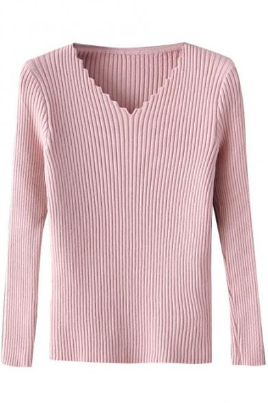 Plain Wave V-Neck Long Sleeve Slim Pullover Sweater