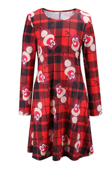 Red Plaid Christmas Deer Long Sleeve Dress