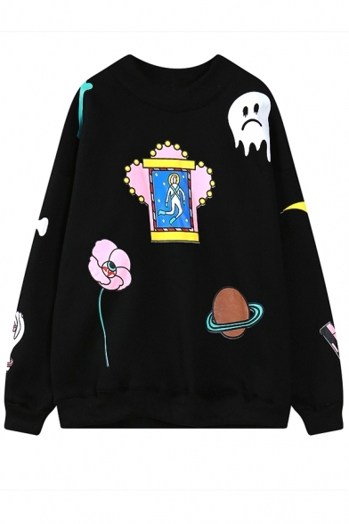 Round Neck Cartoon Print Loose Pullover Sweatshirt