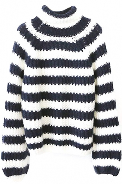 Stripes Color Block Turtleneck Long Sleeve Sweater
