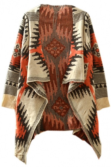 Batwing Asymmetrical Hem Geometric Tribal Jacquard Waterfall Cardigan