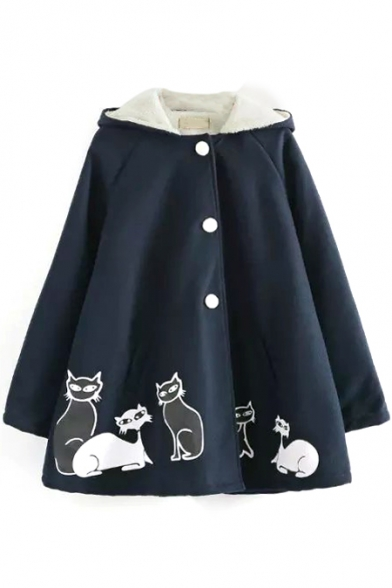 Cat Print Single Breasted Hooded Velvet Lining Loose Tweed Coat