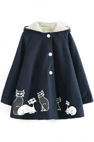 Cat Print Single Breasted Hooded Velvet Lining Loose Tweed Coat