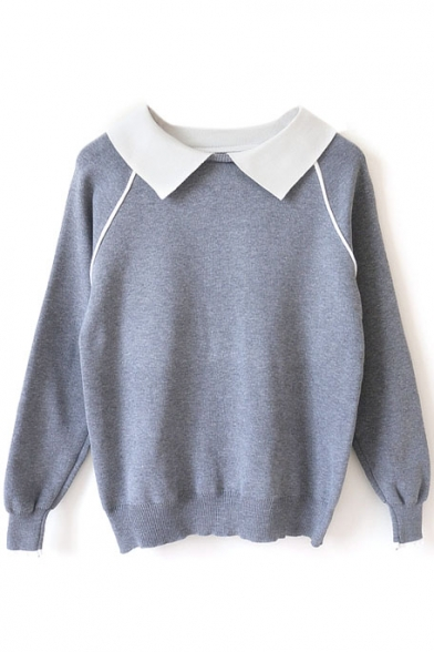 Contrast Collar Raglan Long Sleeve Pullover Sweater