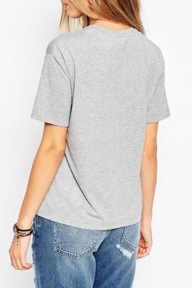 Sleeve Pullover Short Tee Neck Gray Letter Round Print Bqwv6Tnxzt