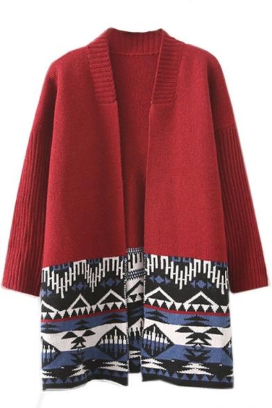 Long Sleeve Tribal Geometric Jacquard Longline Cardigan
