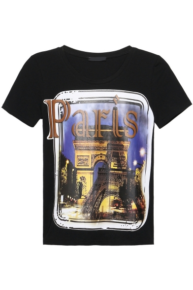 Paris City Print Round Neck Short Sleeve Tee
