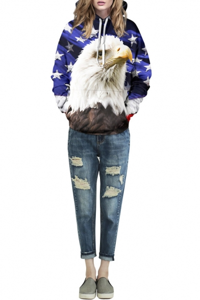 Star & Eagle 3D Print Hooded Long Sleeve Pullover Sweatshirt