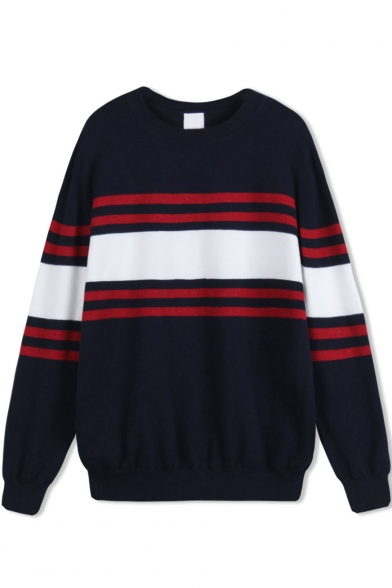 Stripe Trims Color Block Long Sleeve Loose Sweater