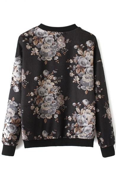 Patchwork Vintage Gauze Long Print Sweatshirt Floral Sleeve Sdx17gqw