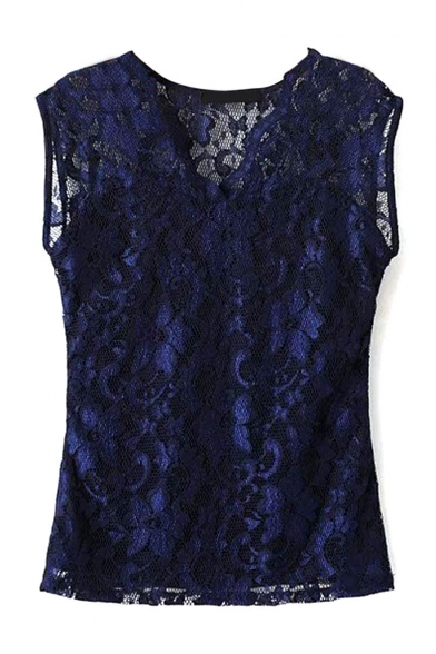 Plain V-Neck Lace Sleeveless Pullover Blouse