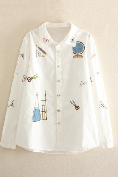 Stationery Print Heart Embroidery Lapel White Shirt