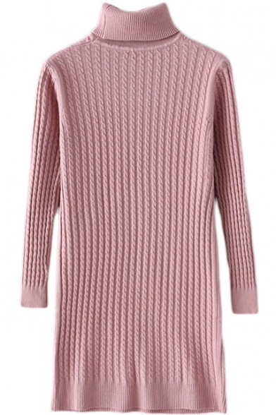 Turtleneck Cable Knit Plain Longline Slim Sweater
