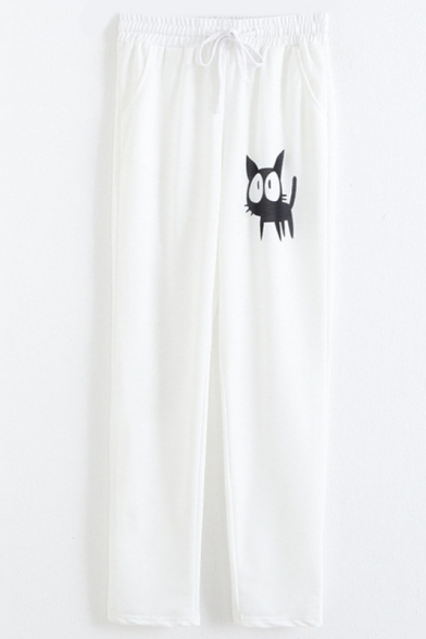 White Drawstring Waist Cat Patterned Straight Joggers Magnificent Patterned Joggers