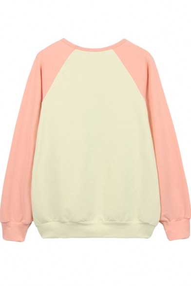 Raglan Print Color Fire Sleeve Balloon Sweatshirt Block 64ZEqanv