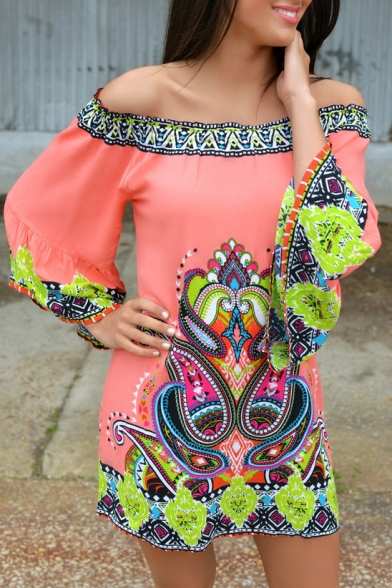 Off The Shoulder 3/4 Length Sleeve Paisley Tribal Print Dress