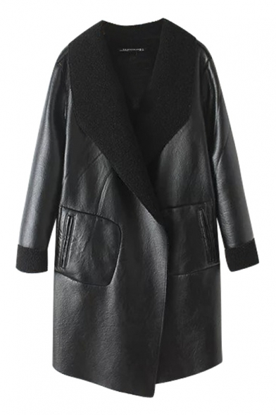 Plain Lapel Columbia PU Faux Fur Open Front Long Coat