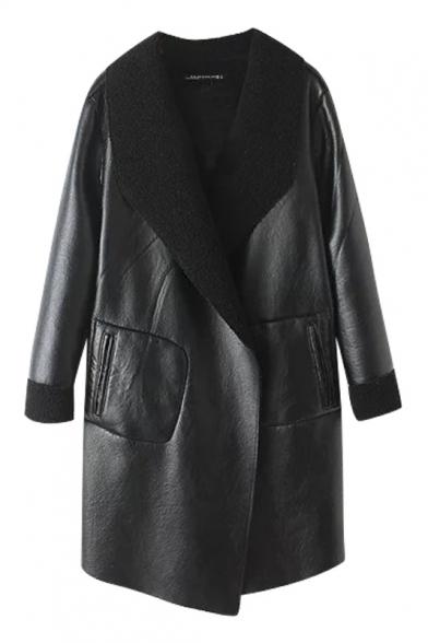 Plain Lapel Columbia PU Faux Fur Open Front Long Coat