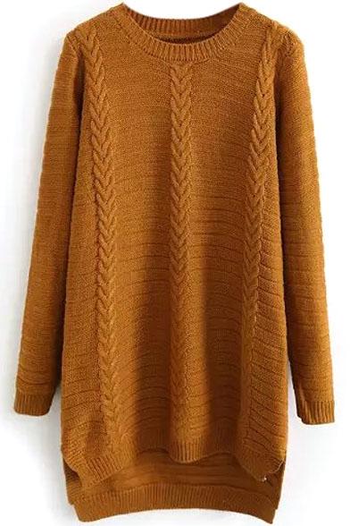 Plain Round Neck Longline Dip Hem Cable Knit Sweater