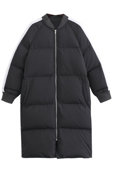 Stand Up Neck Zipper Color Block Long Thicken Padded Coat