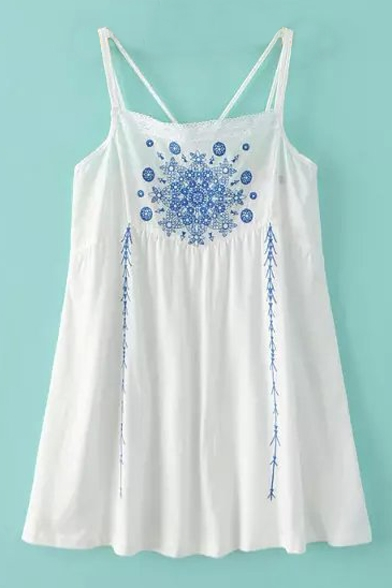 White Straps Positioning Embroidery Loose Cross Back Swing Dress