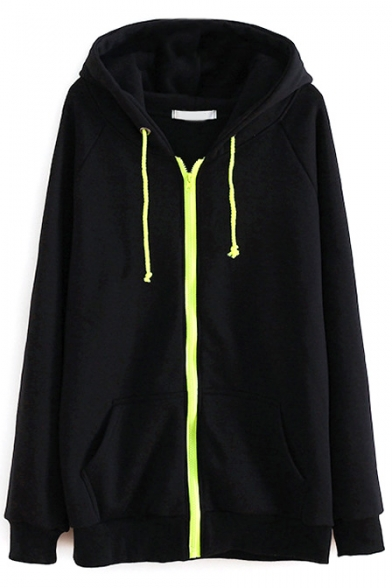 Zipper Plain Hooded Raglan Long Sleeve Fleece Sweatshirt