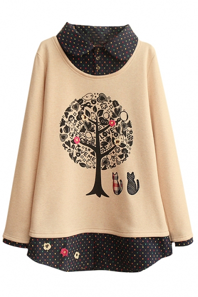 Cartoon Tree Print Long Sleeve Lapel Patchwork Sweatshirt