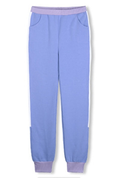 Elastic Waist & Ankle Color Block Loose Jogger Pants