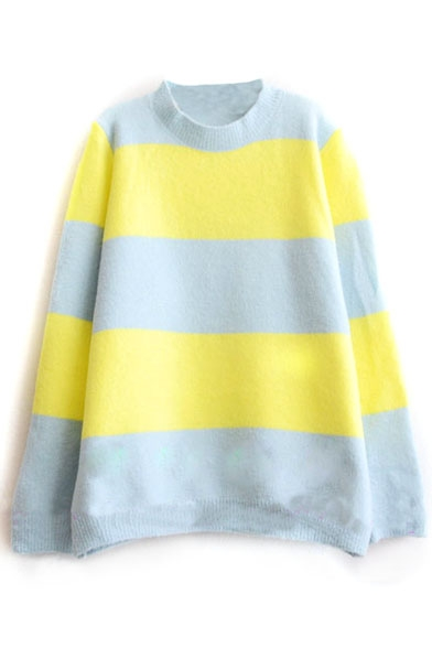 High Neck Stripes Color Block Long Sleeve Sweater