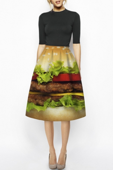 High Waist Hamburger Print A-Line Midi Skirt
