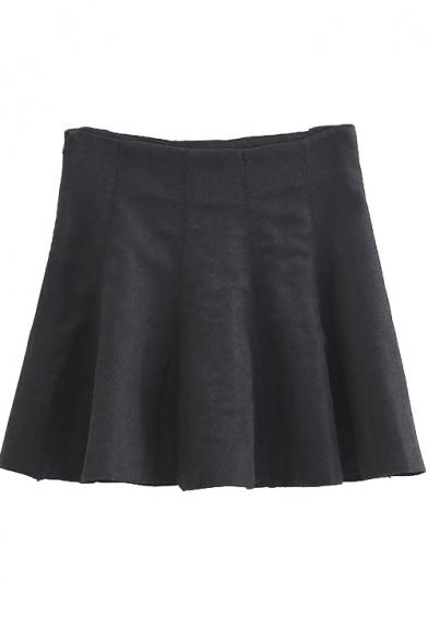 High Waist Plain A-Line Zip Side Skater Mini Skirt
