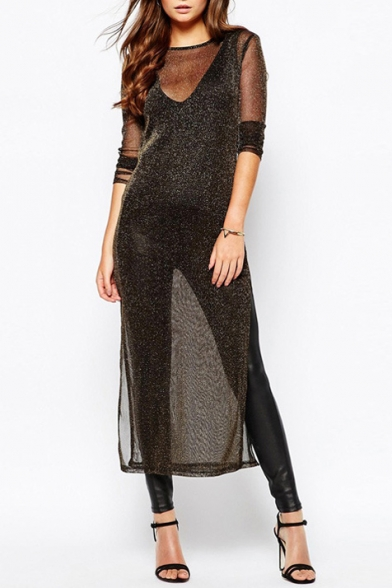 Long Sleeve Round Neck Plain Sheer Split Side Midi Dress